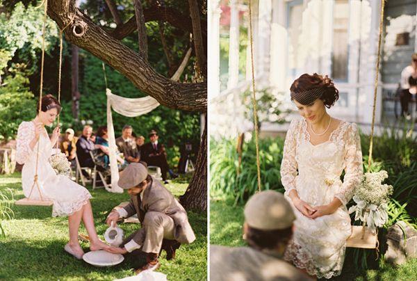 Beautiful Wedding Details The Swing Foot Washing Her Dress