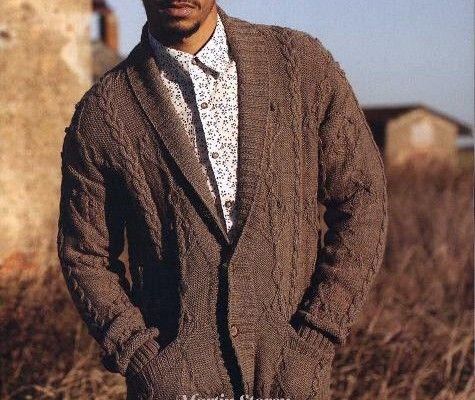 """Free knitting pattern """"Men's cardigan with collar ..."""