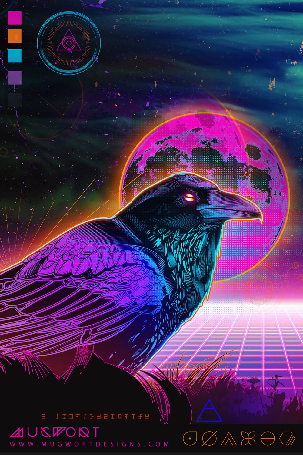 Synthwave Raven in 2020 Visionary art, Synthwave