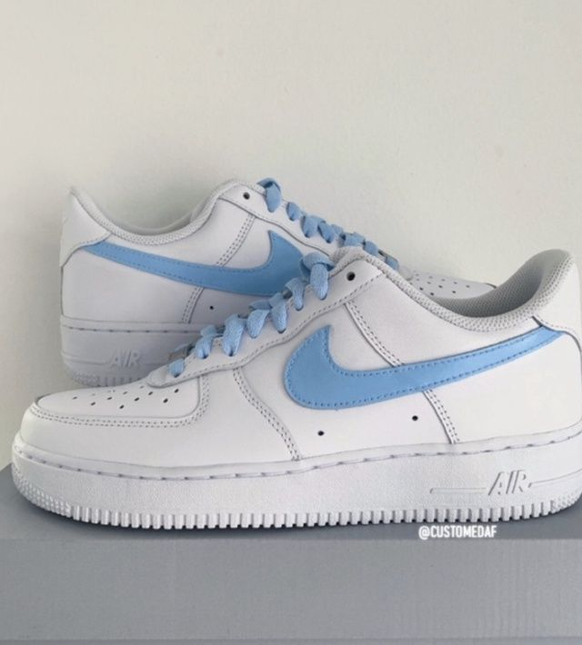 Nike AF1 Baby Blue Swoosh and Laces
