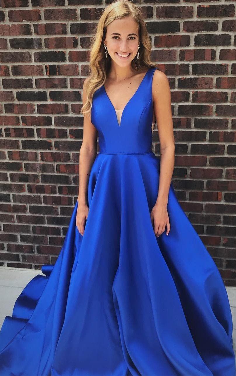 cd0bef4b1a157 V-Neck Satin Prom Dress,Spaghetti Straps Sleeveless Floor Length Long  Evening Dress