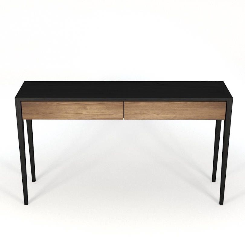 Black Console Table, Computer Desk, Tall Boy, Charging Station, Entry Way,  Home Office, Bureau, Sideboard, Solid Wood, Writing Table