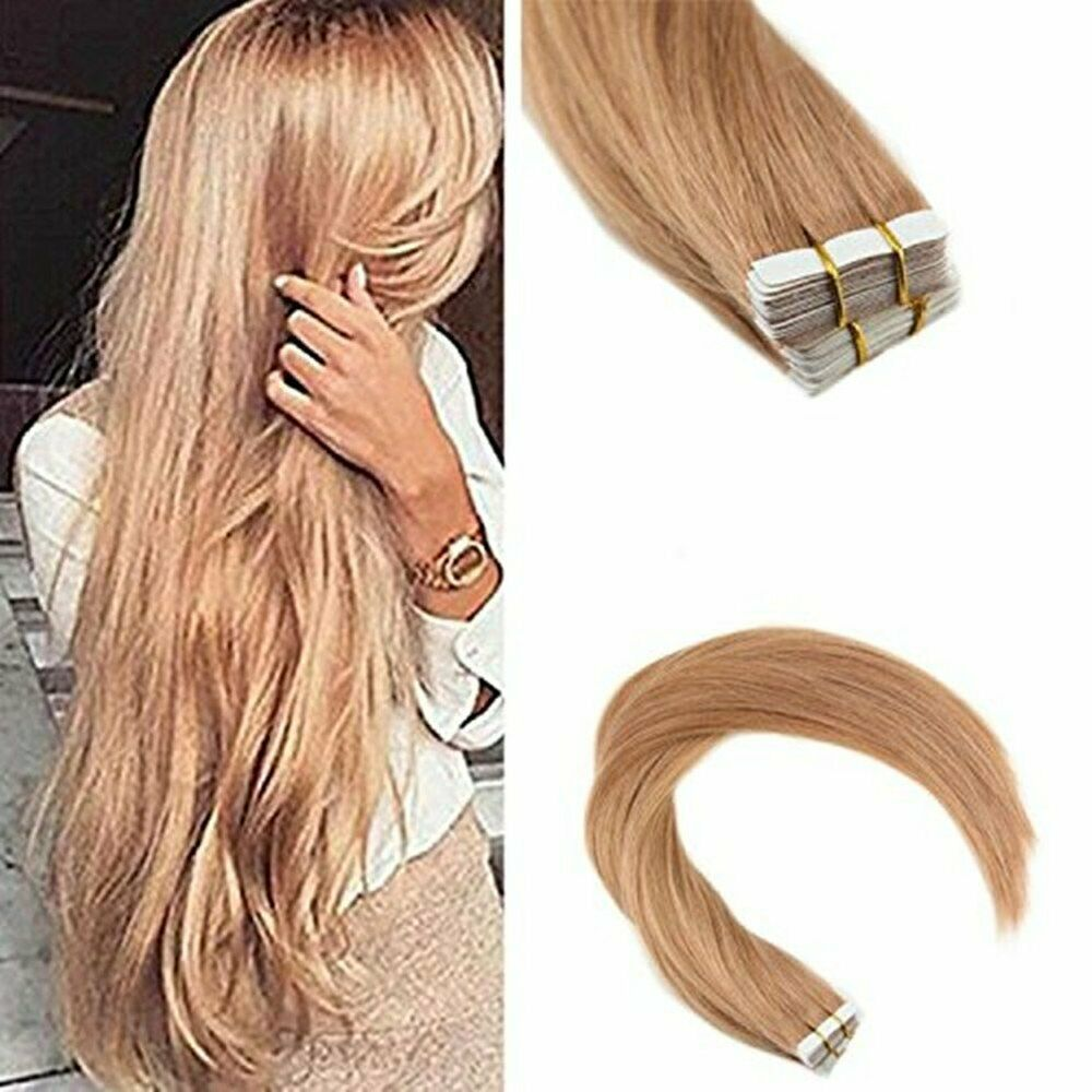 Ugeat 50gr Real Human Hair Tape In Extensions Solid Strawberry