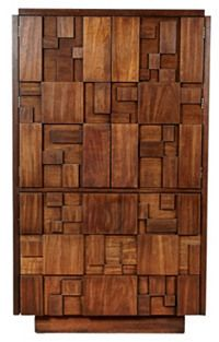 Vintage 2 B Modern 1960s Lane Walnut Wood Block Armoire