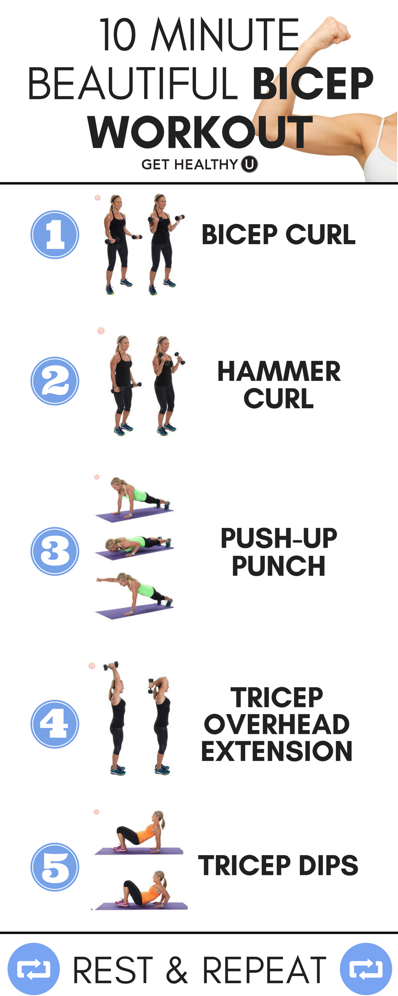 10 minute bicep workout for women quick workouts and biceps