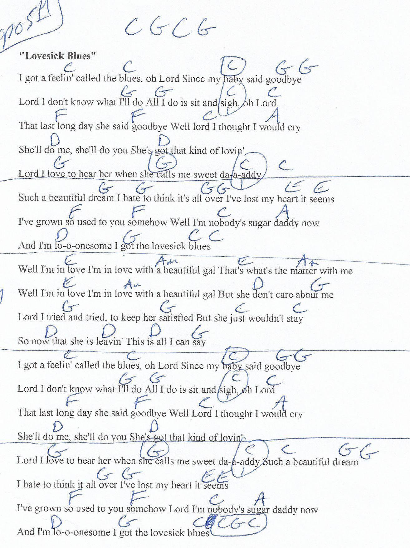 Lovesick Blues Hank Williams Guitar Chord Chart Capo 5th