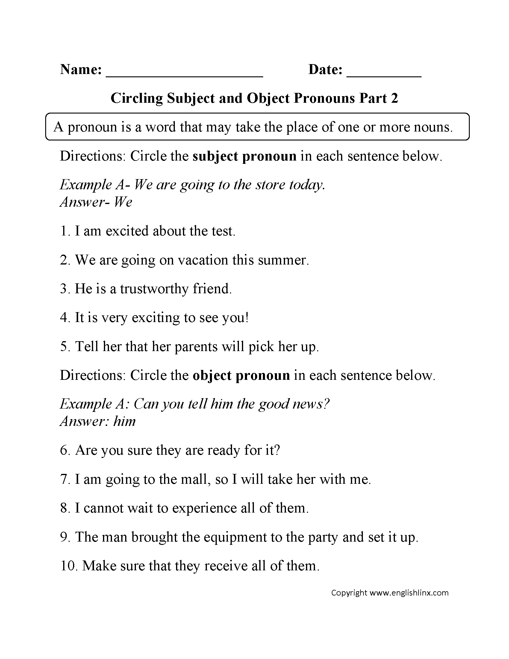 hight resolution of Pronouns Worksheets   Subject and Object Pronouns Worksheets   Pronoun  worksheets
