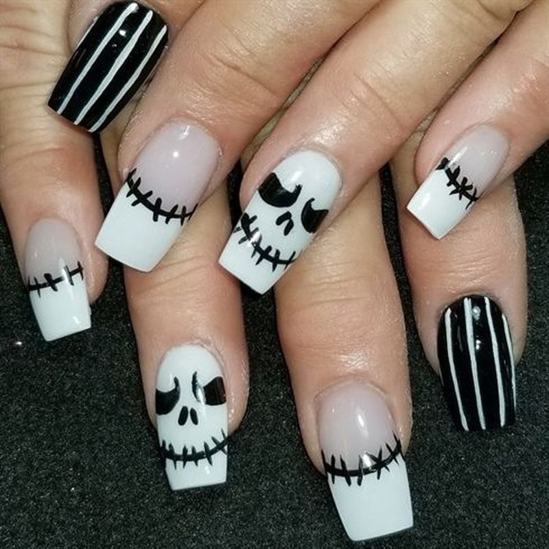 Halloween Nails 2020 Jack Skellington 47 Amazing Nail Art Designs For Fall Jack Skellington