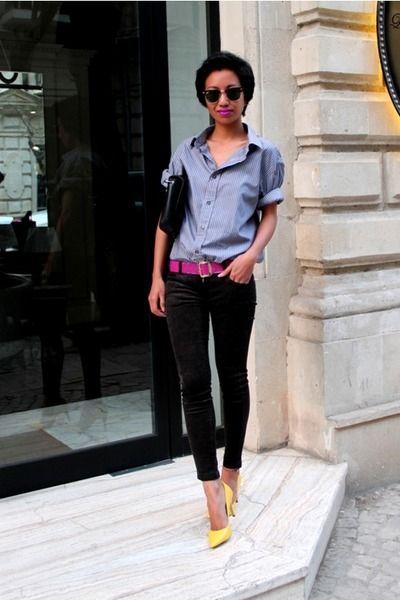 Yellow-mango-shoes-black-skinny-mango-jeans-heather-gray-diddys-shirt-blac