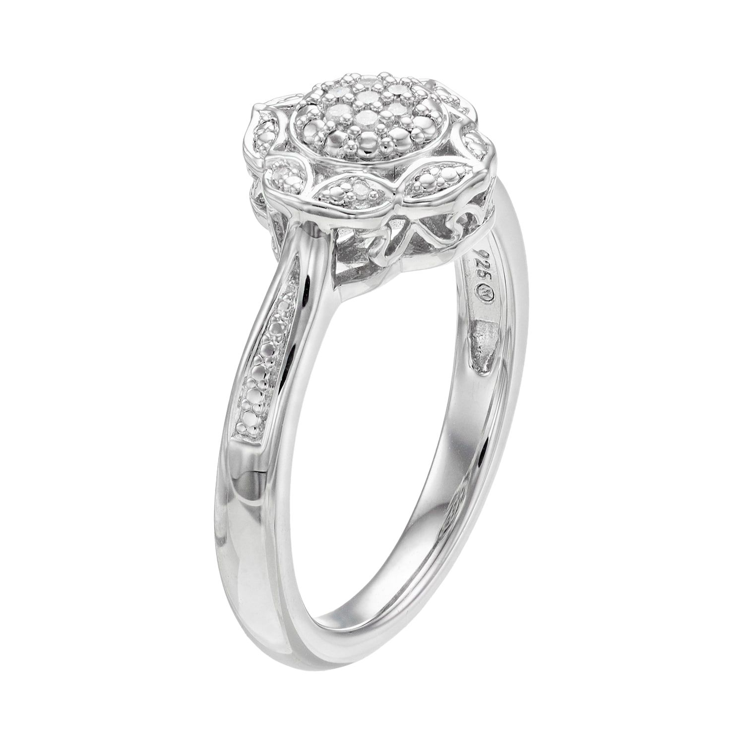 1744f34eb9b37 Simply Vera Vera Wang Sterling Silver Diamond Accent Flower Ring in ...