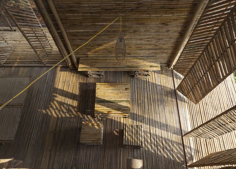 Prototype bamboo house designed to withstand floods up to three metres above ground.