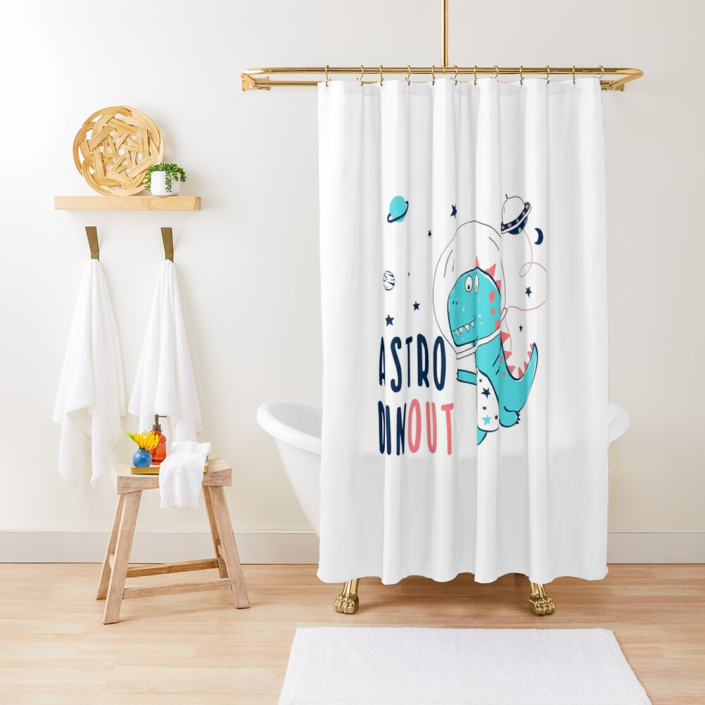 Dinosaur In Space Pun Shower Curtain By Earthsavers With Images