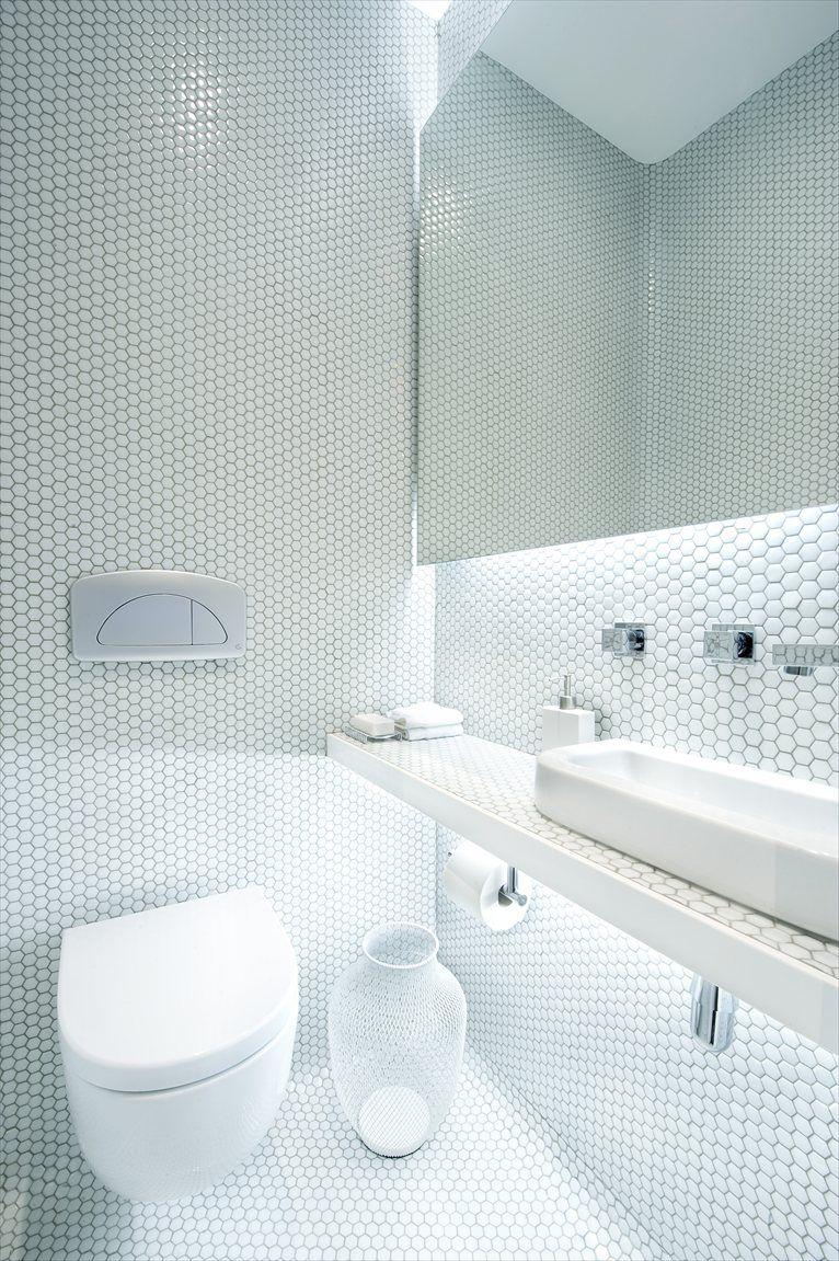 living-by-the-market #white #tiles #mosaic   wC   Pinterest   Bath ...