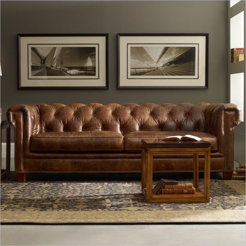 HOOKER FURNITURE SEVEN SEAS MALAWI TONGA BROWN TUFTED LEATHER SOFA /COUCH  ~SS195