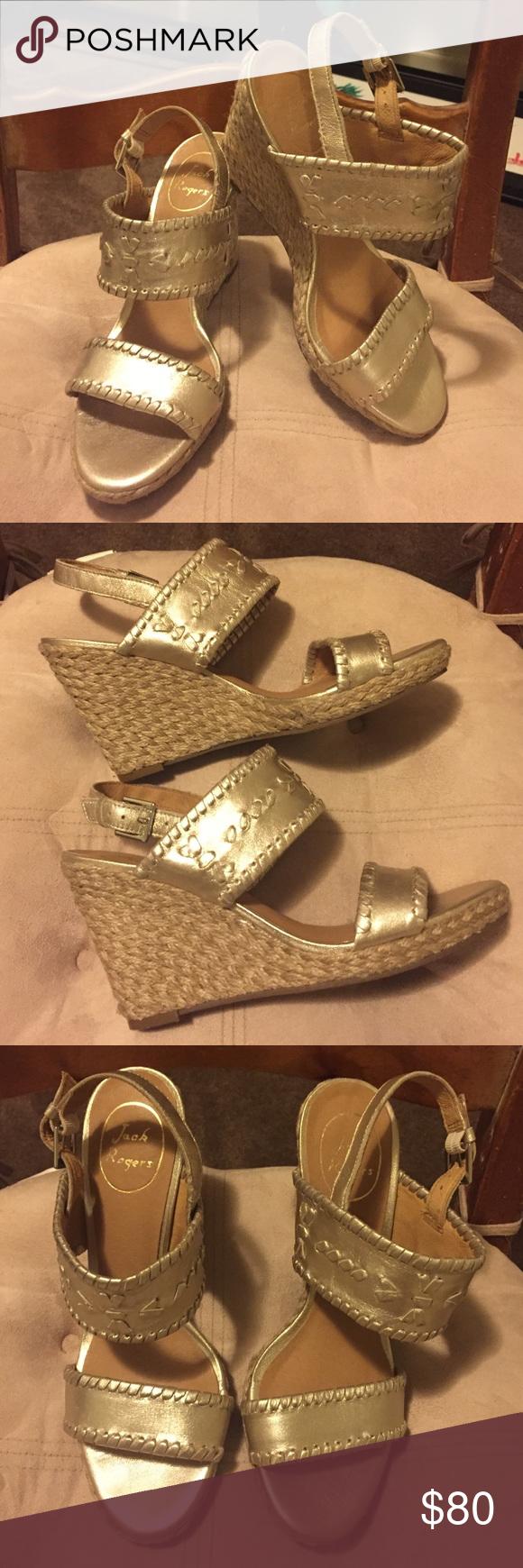 Jack Rogers Gold Vanessa Wedge Heels size 7M Jack Rogers Gold Vanessa Wedge Heels size 7M. Great Wedge Heels. 3.5 inch heels. Comfortable and classy!! Jack Rogers Shoes Wedges