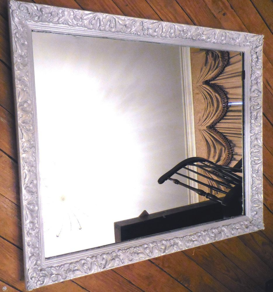Antique Vintage Heavy Carved Wood Gilt Gesso Frame Ornate Wall Mirror 34 X 28 Victorian Unknown Gold Mirror Wall Mirror Mirror Wall
