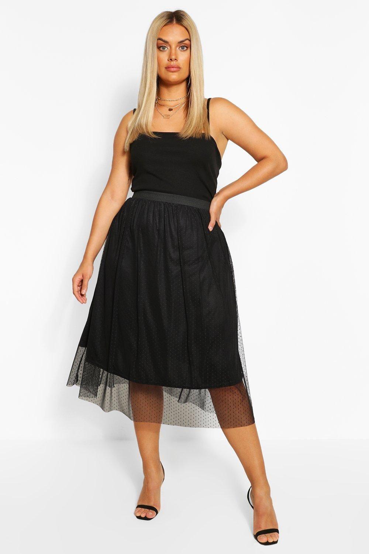 Womens Plus Dobby Mesh Midi Skater Skirt – Black – 18