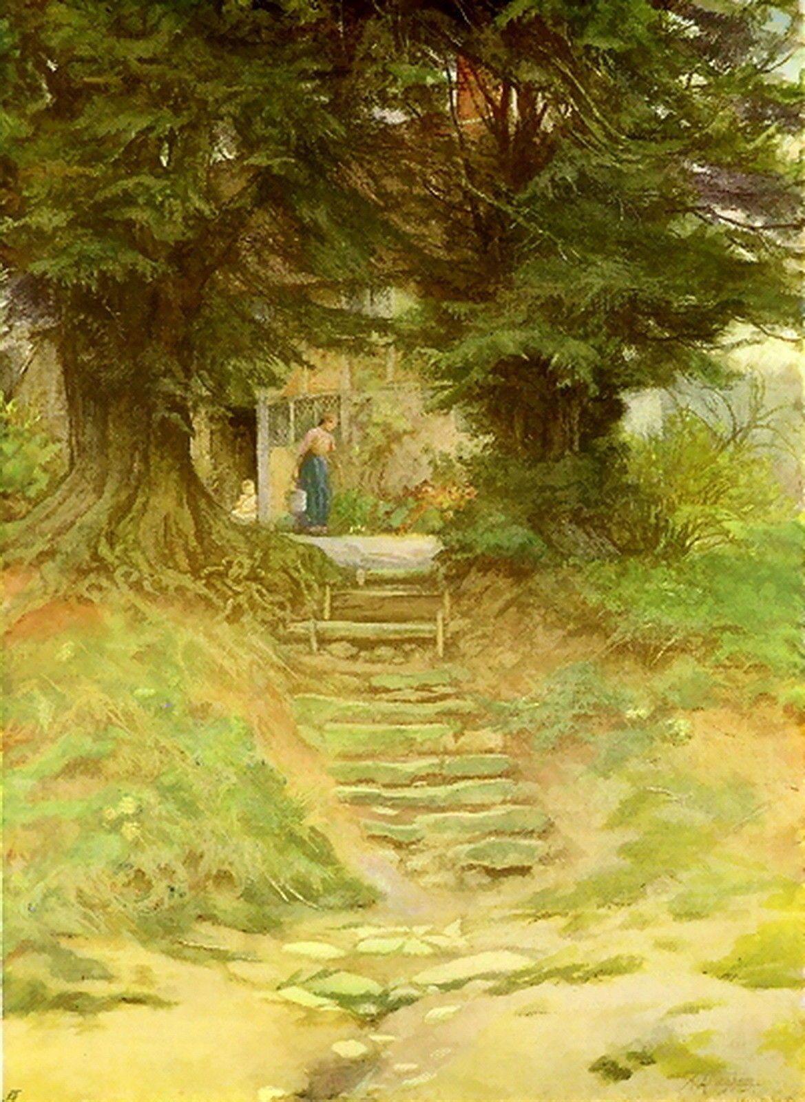 Antique 110 yr Helen Allingham Print c19th Landscape Cottage Near Crocken Hill | eBay
