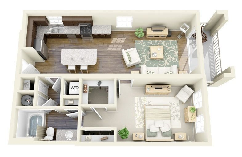 50 One 1 Bedroom Apartment House Plans One Bedroom House Apartment Layout Apartment Plans