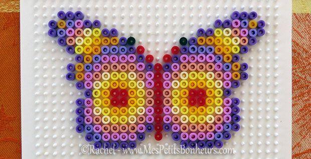 Mod le papillon en perles repasser plaque carr e perles a repasser pinterest - Modele de papillon ...