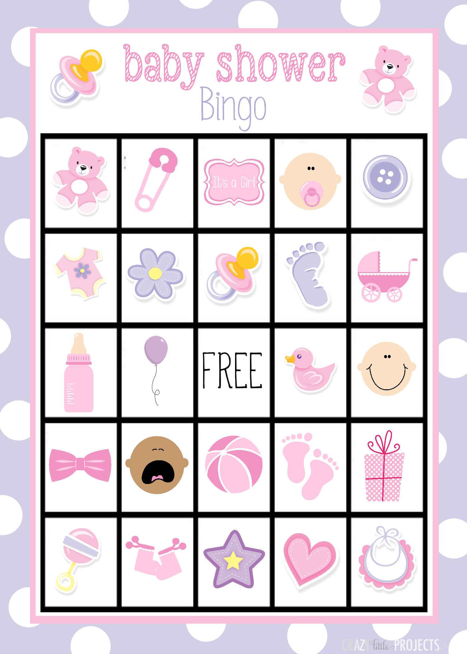 Free Printable Baby Bingo Cards Printable Baby Shower Cards Baby Shower Bingo Bingo Card Template