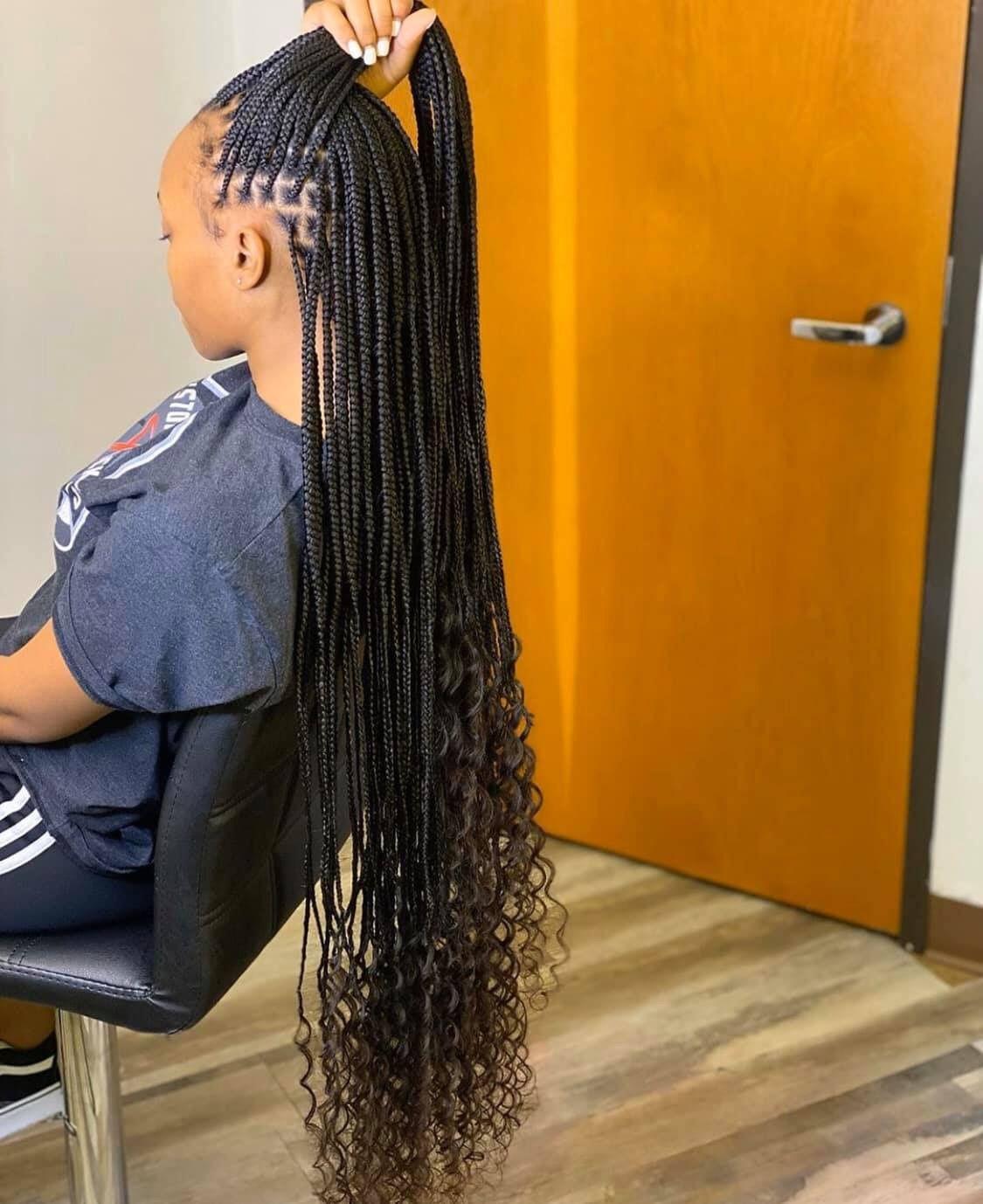 Leg Length Knot Less Braids Box Braids Hairstyles For Black Women Braids With Curls Twist Braid Hairstyles