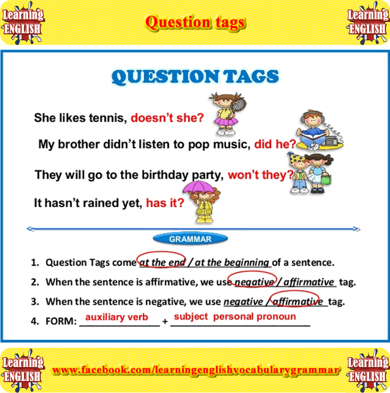 Question tags   This or that questions, English grammar ...