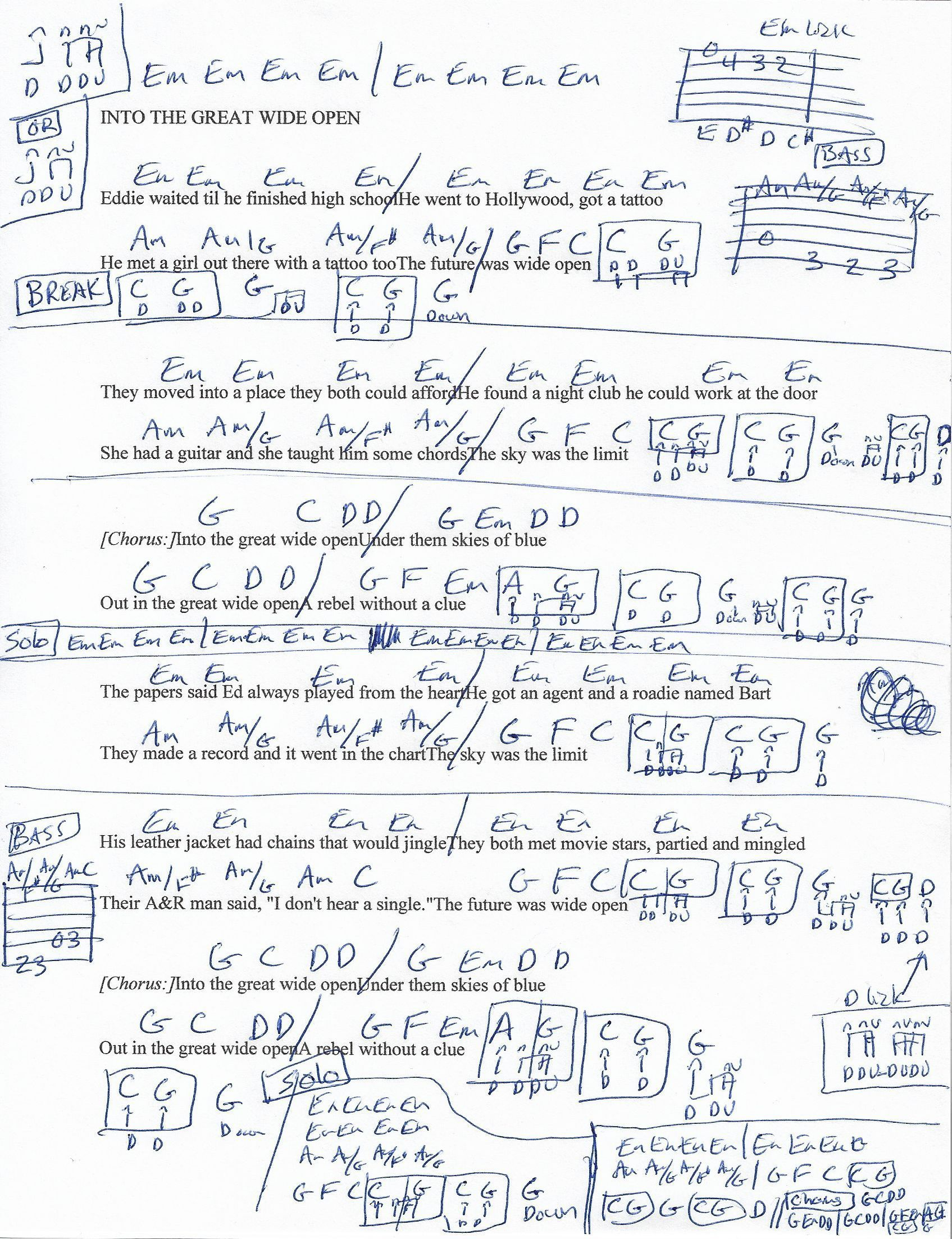 Into The Great Wide Open Tom Petty Guitar Chord Chart Play Yer