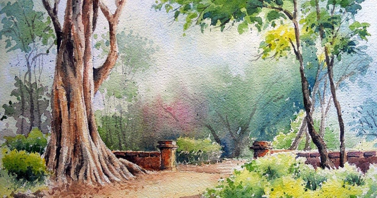 79 Watercolour Painting Through The Thicket Watercolor Landscape Paintings Scenery Paintings Watercolor Scenery