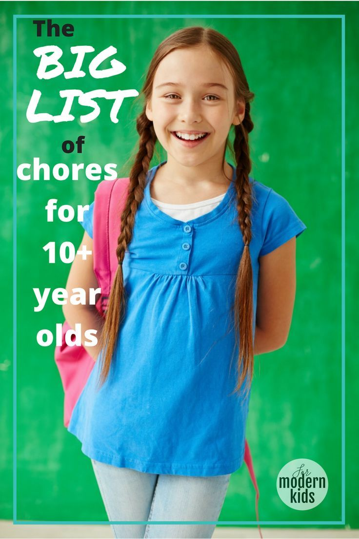 Wondering what kind of chores your kids 10 and older should be doing? Here is the BIG LIST of things they can handle as they get older.