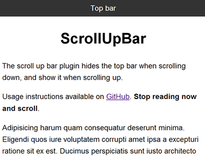 ScrollUpBar - jQuery Plugin to Hide Top Bar When Scrolling ...