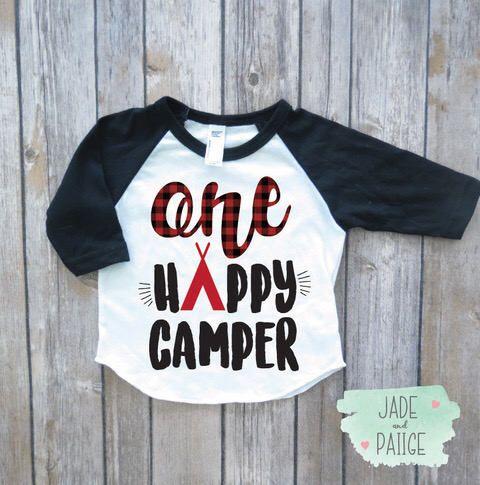 one happy camper, kids birthday shirt, birthday gift, baby boy clothes, toddler boy shirt, kids camping shirt, first birthday shirt