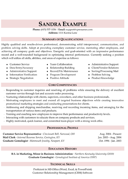 customer service resume - Resume Summary For Customer Service