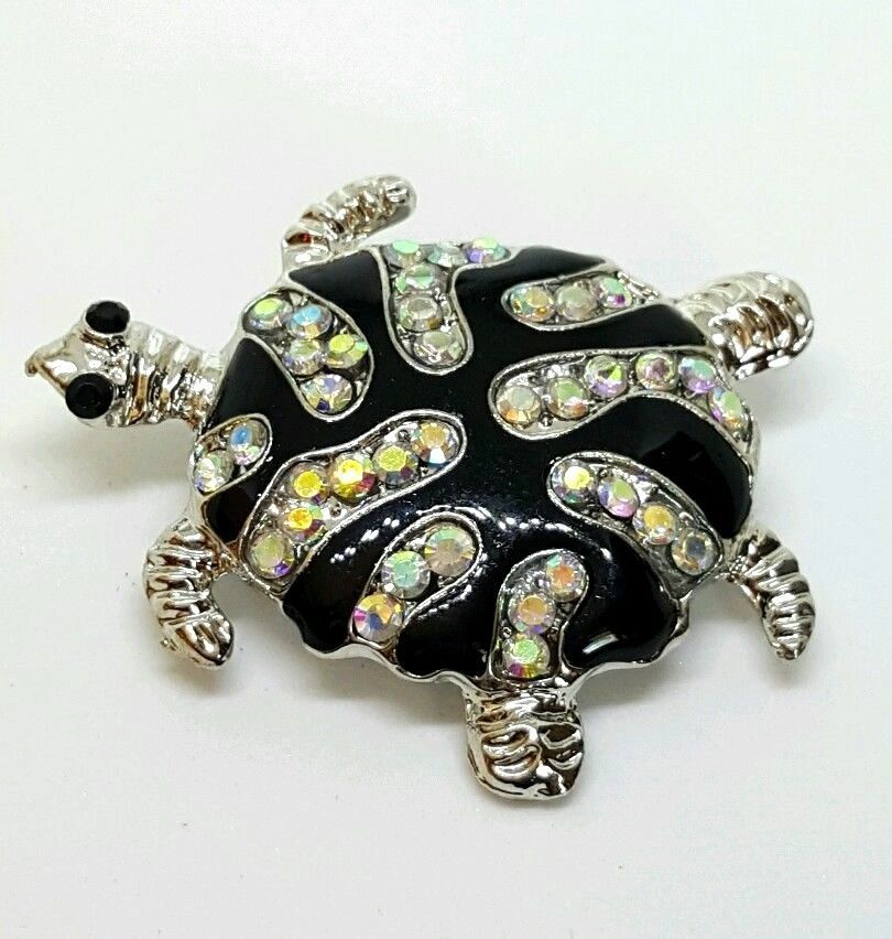 Brooche Turtle Pin Enamel Silver Plated