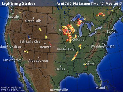 Intellicast Lightning Strikes In United States Oh Yea Lightning - Lightning map us