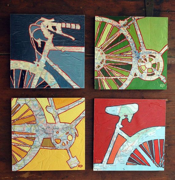 Bicycle art collection Four 8x8 Mounted bike map prints bike gift