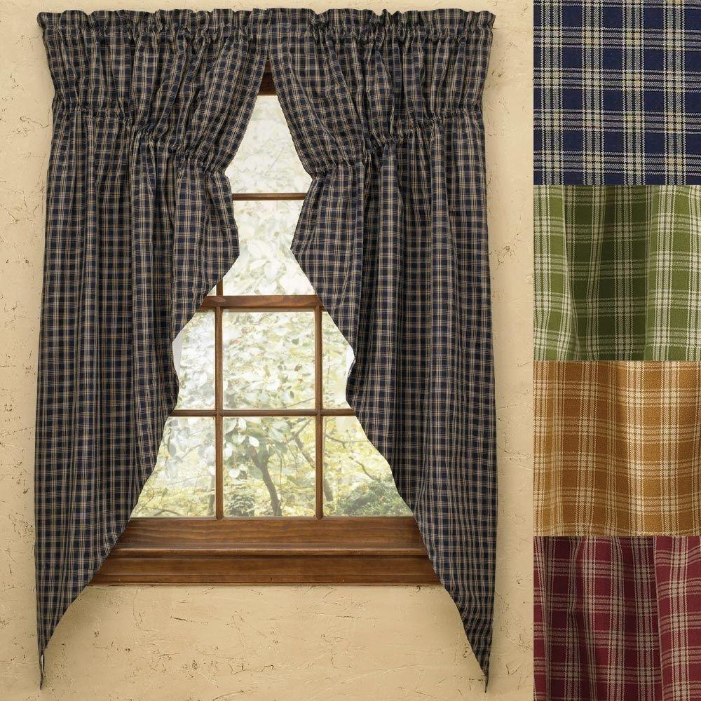 """Plaid Gathered Swag Prairie Curtain Set 36"""" Or 63"""" Long"""