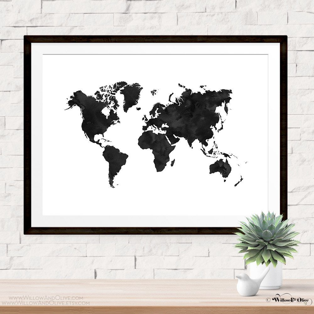 World map print poster map art print black and white travel print world map art print poster black and white printable wall art map print gumiabroncs Gallery