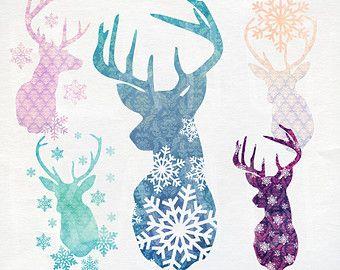 SALE Christmas Clip Art. Reindeer Watercolor Clipart. Snowflake Design Damask Pattern. Xmas Craft Scrapbook. Cute Illustration. Transparent....