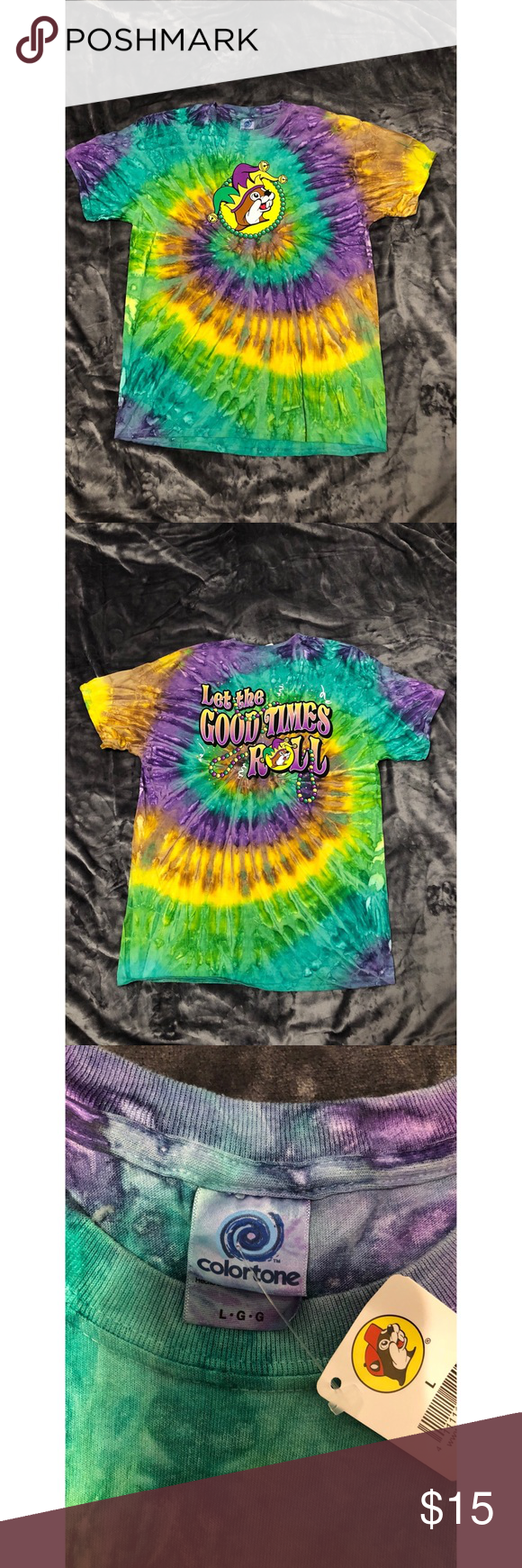 799b9b4aeeb5 Buc-ee's Mardi Gras Tie Die T-shirt ‼️NEVER WORN‼ Buc-ee's Tie Dye Mardi  Gras T-shirt size Large Buc-ee's is a famous truck stop here in Texas You  can't ...