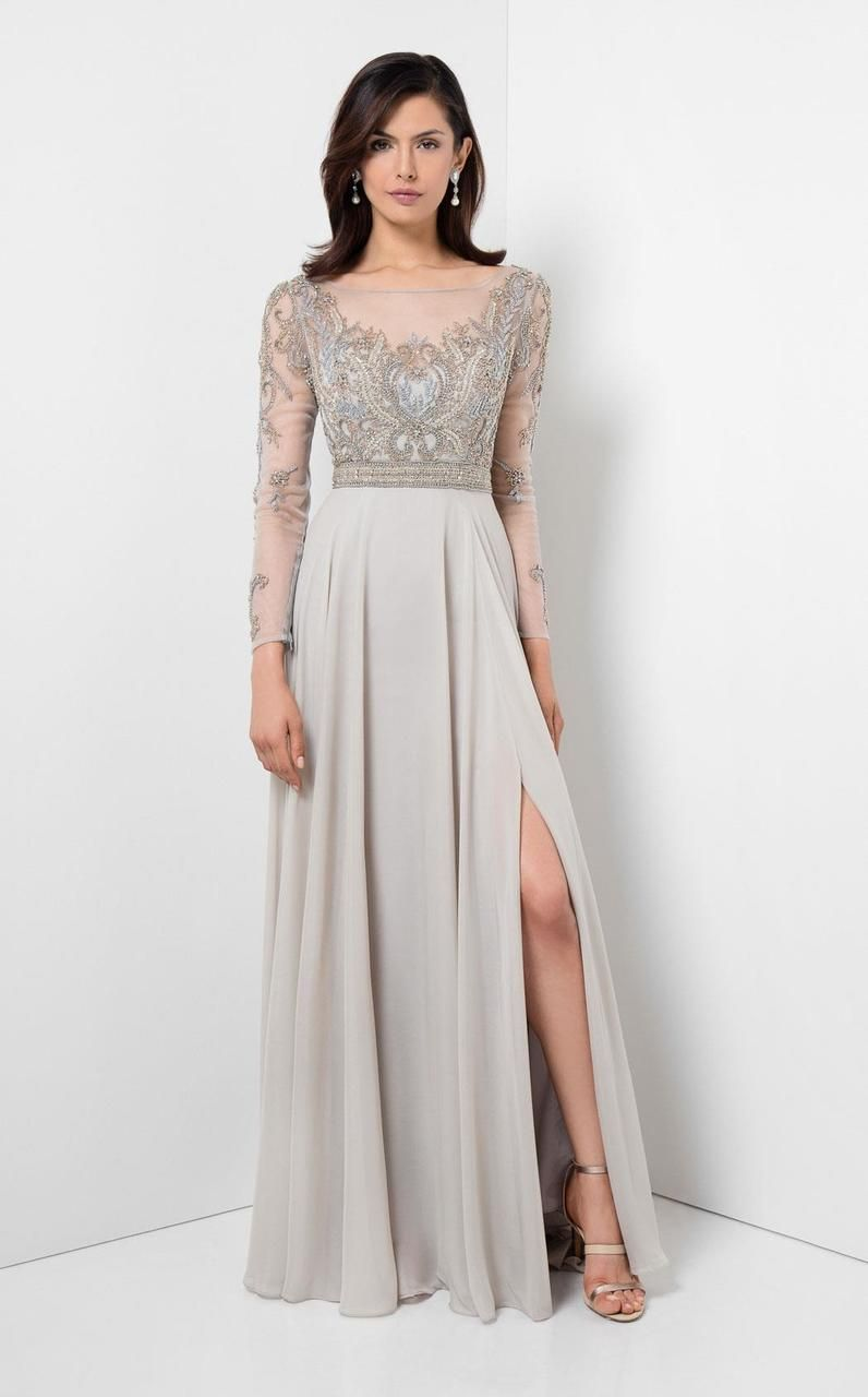 db37561b589 Terani Couture Beaded Illusion Long Sleeve Gown
