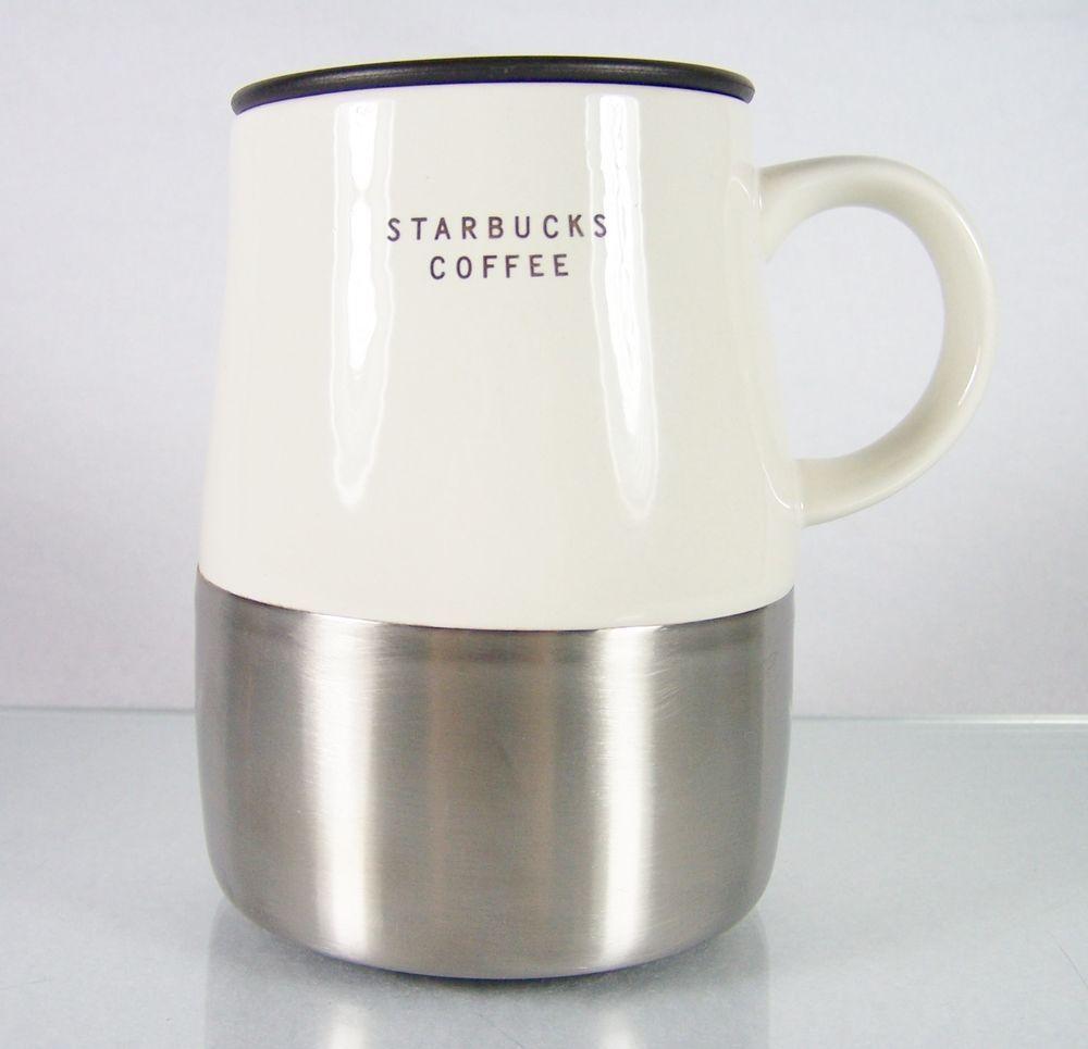 Starbucks Coffee Beige Cream Ivory Off White Porcelain China Ceramic Dishwasher Safe Travel Drinking Mug Cup With Side Handle Shiny Brushed