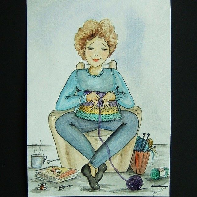 cartoon knitting lady original art painting 7x5 ref 233 £10.00