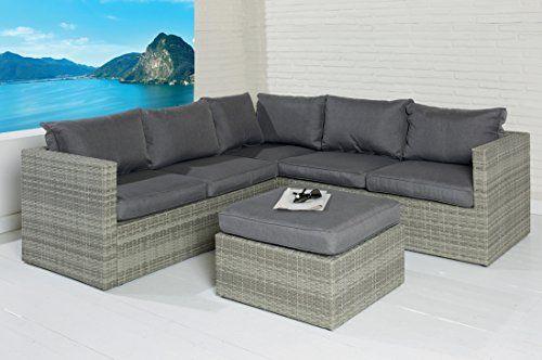 POLY RATTAN Sitzgruppe Sofa Lounge Set grau Gartenmöbel Terrassen - gartenmobel polyrattan eckbank