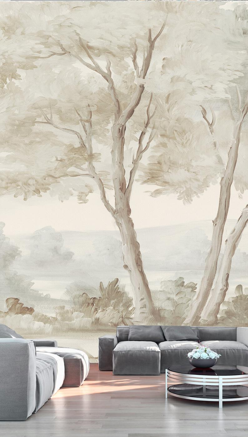 Tree Design Wallpaper Living Room: Medieval Big Tree Wall Mural Hand Painted Style Wall Paper