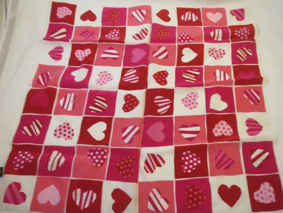 Vintage Silk Scarf Pink Red White Patterned Heart Blocks Signed Echo Pure Silk 21 inches Square Heart Blocks Love Design Fashion Scarf