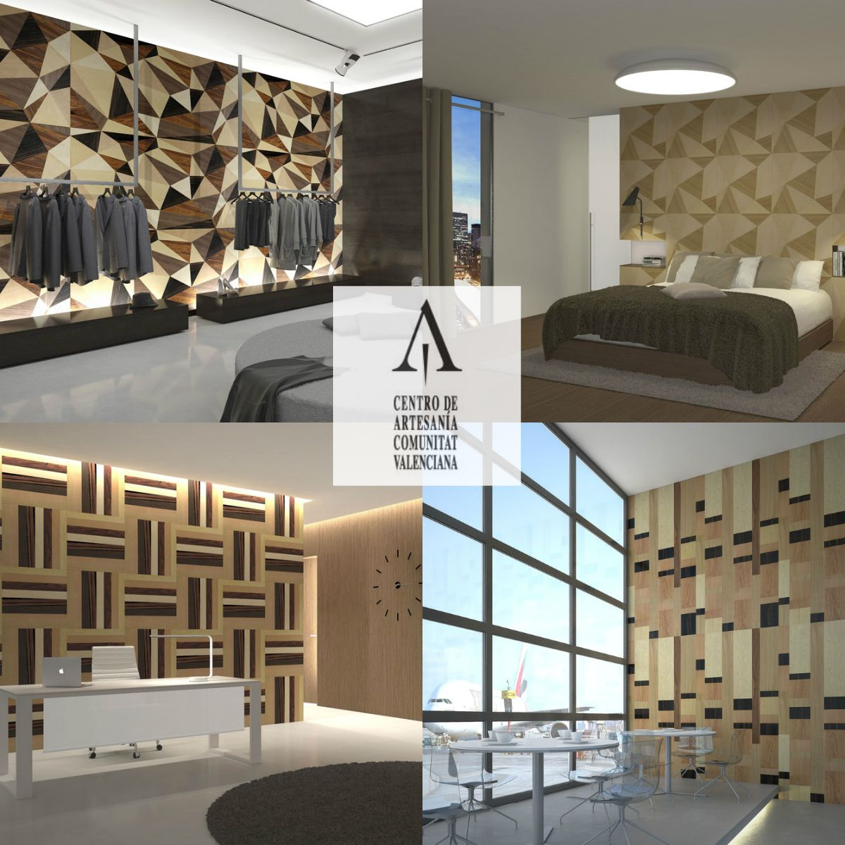 Artesanía en madera. Paneles rechapados de madera natural artesanos