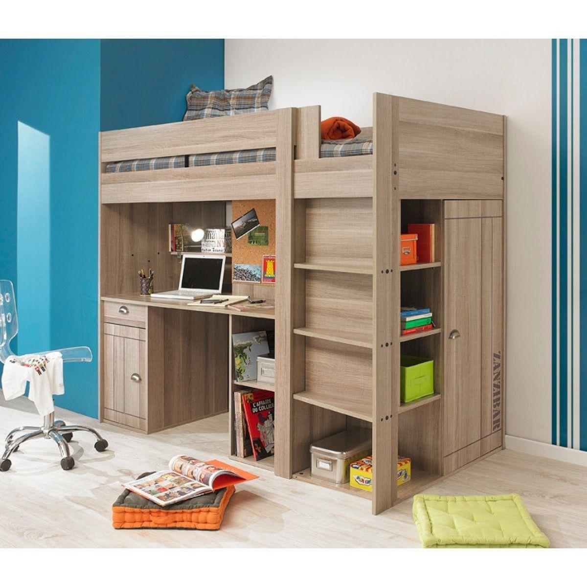 lit mezzanine enfant effet ch ne gris lm5001 90x200 bois. Black Bedroom Furniture Sets. Home Design Ideas