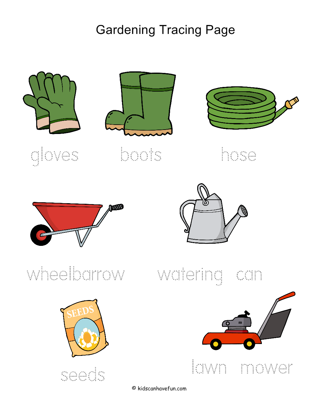 Gardening tracing worksheet summer activities for kids for Gardening tools 7 letters