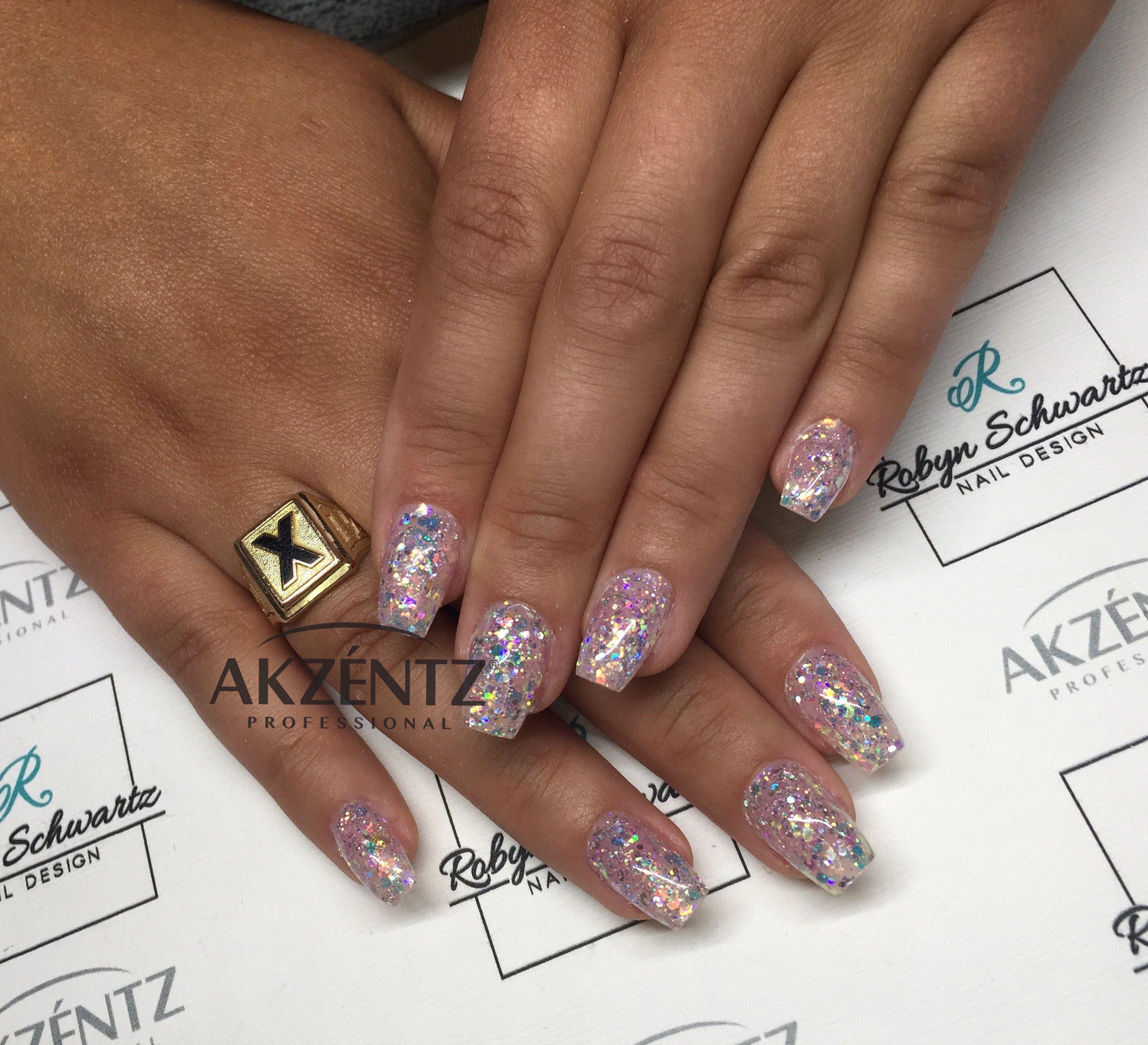Love straight iridescent glitter, coffin gel nails | nail art ...